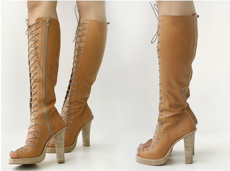 GENUINE LEATHER GLADIATOR KNEE HIGH BOOTS LACE-UP SANDALS TRULY ...