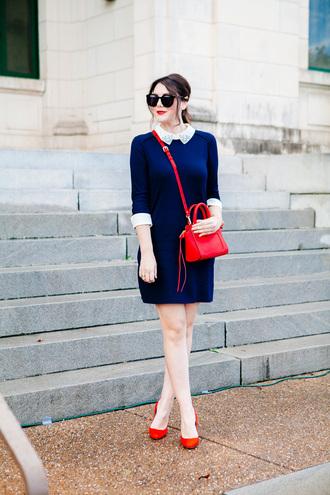 kendi everyday blogger collared dress navy dress red bag red heels mini bag