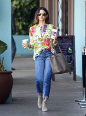 blouse,top,jeans,floral,jenna dewan,streetstyle,fall outfits,ankle boots