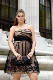 dress,chloe marshall,model,curvy,plus size,prom dress,lace dress,a line dress,black dress,short dress,bag,black bag,hairstyles