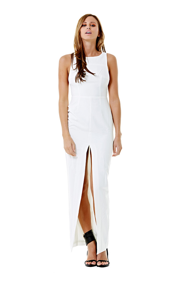 dress ustrendy dress slit slit skirt white dress longer length dress ustrendy