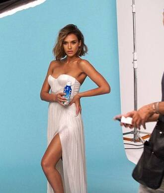 dress strapless bustier dress white white dress jessica alba slit dress