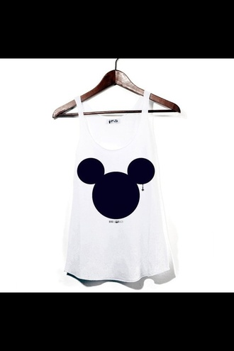 tank top mickey mouse emo white tank top