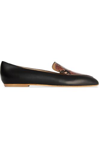flats leather snake print black snake print shoes