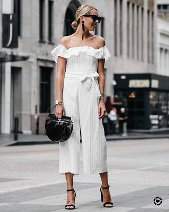 jumpsuit tumblr off the shoulder white jumpsuit cropped jumpsuit sandals sandal heels high heel sandals bag black boots sunglasses shoes