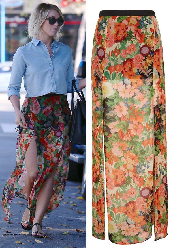 TOPSHOP Sheer Floral Double Split Maxi Skirt UK 10 US 6 EU 38 | eBay