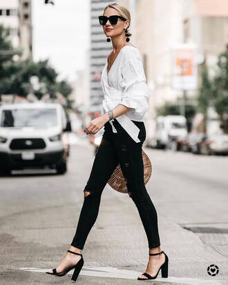 top tumblr v neck puffed sleeves jeans denim black jeans ripped jeans sandals sandal heels high heel sandals sunglasses shoes