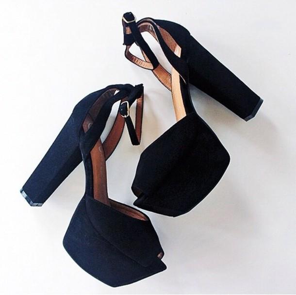 shoes black heels high heels black shoes platform shoes chick chuncky heels chunky