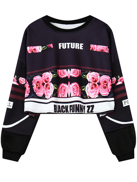 sweater black floral roses long sleeves fashion style trendy flowers zaful