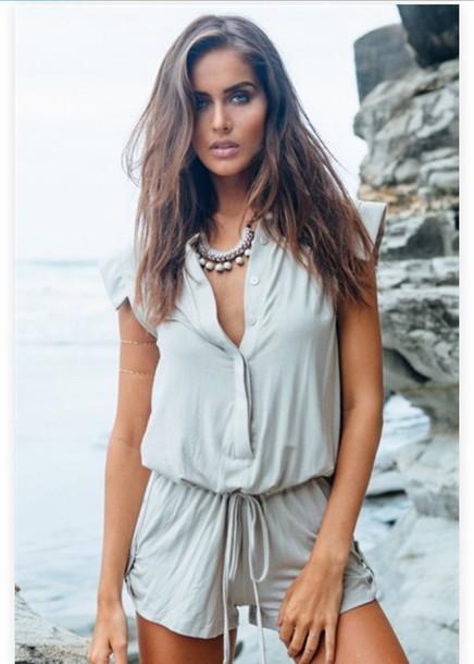 jumpsuit summer grey romper dress