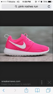 shoes,hot pink,nike,nik roshe runs,pink,pink shoes,roshe runs,roshes,nike shoes,neon,nike running shoes