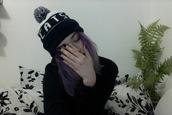 cats pom hat,black white cats pom hat,black white pom hat,pom hat,cats hat,black hat,white hat,black white hat,pom,black and white,cats,purple hair,grunge,pale grunge,black nails,nails,plants,bedding,pom pom beanie