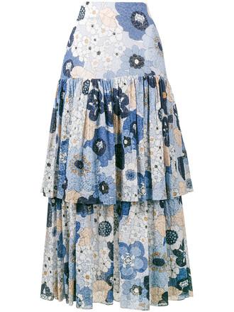 skirt women floral cotton print blue silk