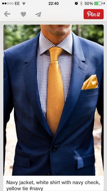 coat blue suit yellow tie smart