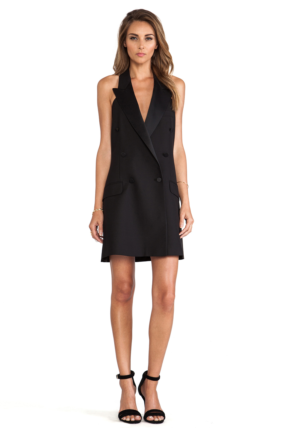 McQ Alexander McQueen Tuxedo Halter Dress in Velvet Black | REVOLVE