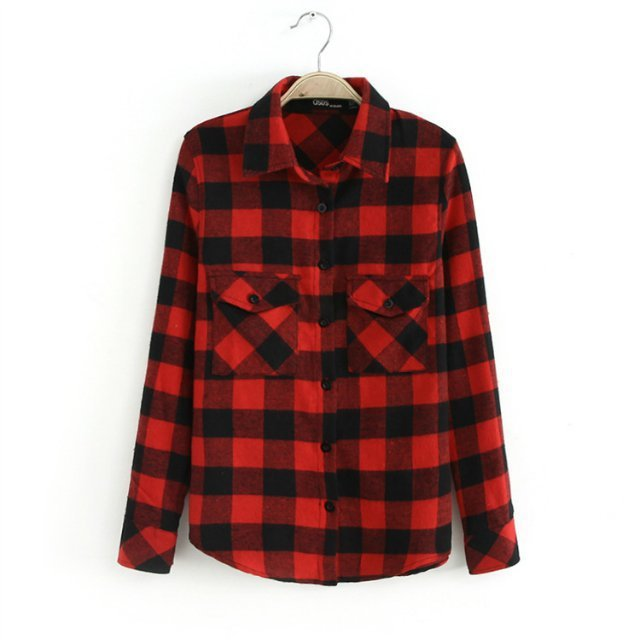Women's Red Plaid Flannel Two-pocket Boyfriend Shirt £ 45 + £ shipping From Express Price last checked 17 hours ago Product prices and availability are accurate as of the date/time indicated and are subject to change.