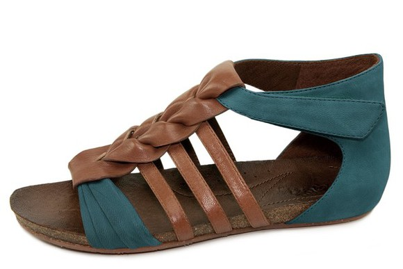 shoes flat sandals green shoes brown leather smaragd