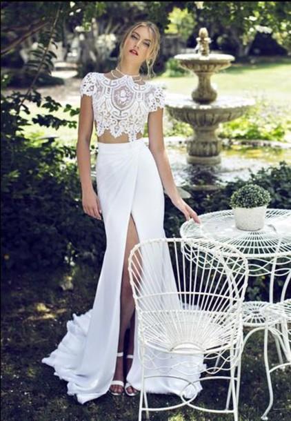 two pieces wedding dress, wedding dress, wedding dress, lace bridal ...