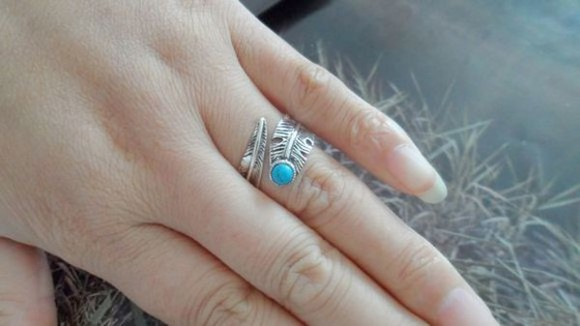 jewels classic turquoise feathers 925 silver ring