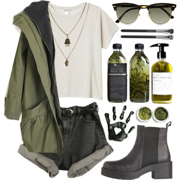 rayban hipster jewels indie boho necklace hand boots jacket retro sunglasses ankle booties shoes