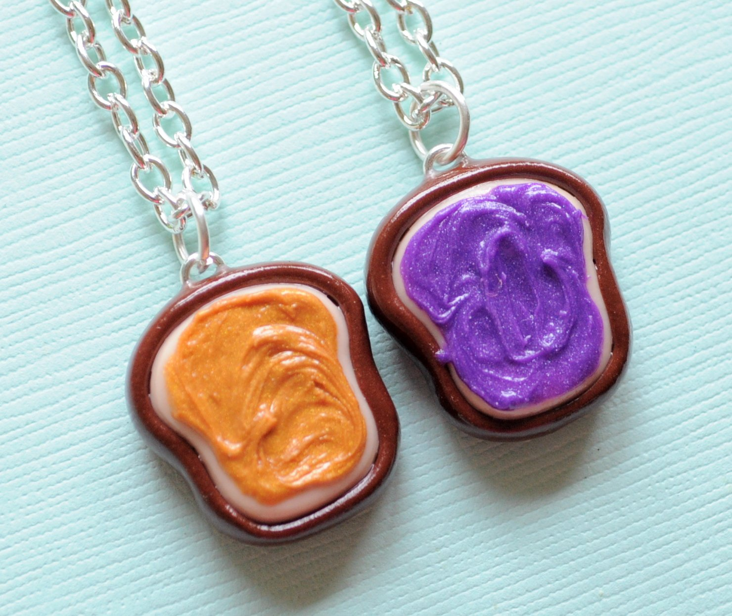 Realistic peanut butter and jelly best friend necklaces