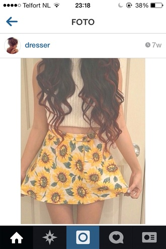 skirt like want cute summer skirts yellow high low flowers cute skirt love more tank top