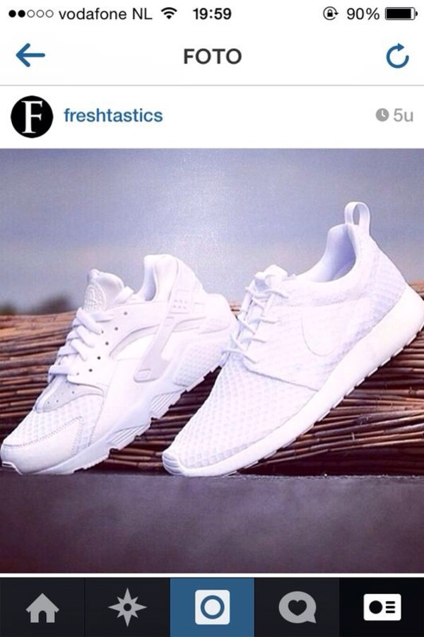shoes, white, all white nikes, nike, nike air, huarache