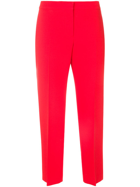 cropped women silk wool red pants