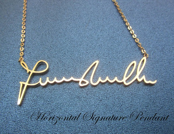 jewels signature signature necklace signature pendant horizontal signature necklace name necklace necklace jewelry anniversary gift gift ideas presents personalized gift memorial gift