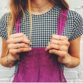 t-shirt,jumpsuit,purple,houndstooth