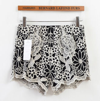 white floral rose shorts lace boho vintage black