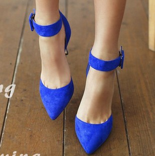 pointed toe ankle strap stilettos black royal blue suede heels ...