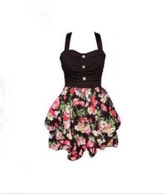 dress floral dress black top buttons cute dress short dress summer dress floral pattern