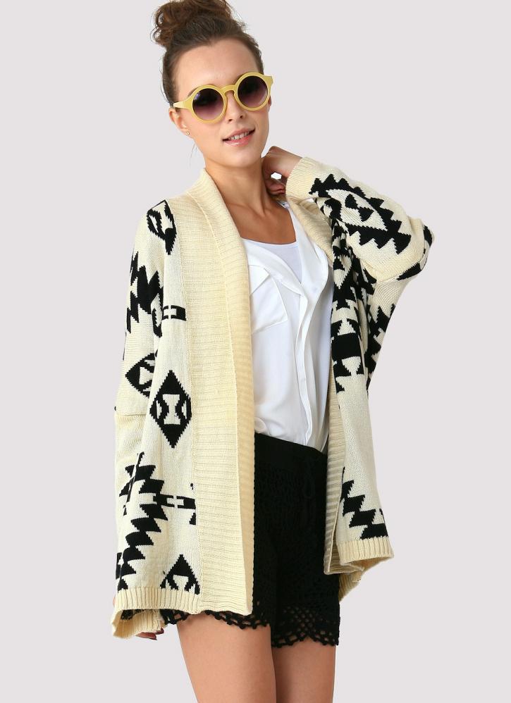 Aztec print long sleeve open knit