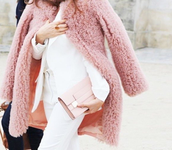 light pink pink fluffy long coat coat dusty pink shearling jacket white clutch
