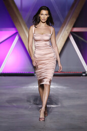 dress,midi dress,bodycon dress,bustier dress,bella hadid,model,runway,cannes