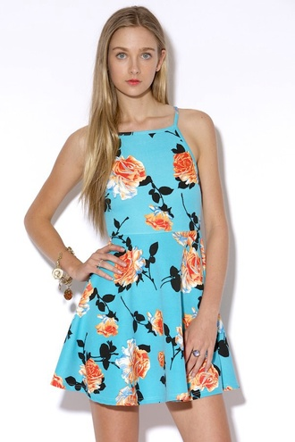dress minkpink floral dress summer dress flowers blue dress light blue orange flowers