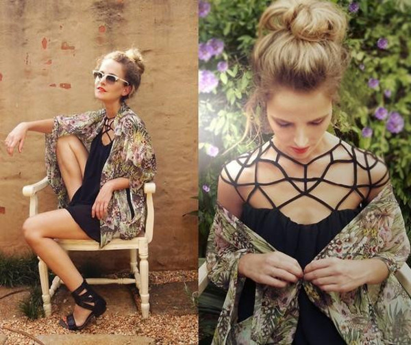 dress vintage black chiffon clothes black dress top shop cut-out dress cute boho gypsy festival net