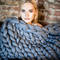 Chunky knit blanket, giant yarn, throw - wrap, arm knit from 100% merino wool, extra warm chunky blanket, different sizes