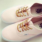 shoes,pink,vans,nice,laces,white,pink vans,baby pink,pastel sneakers