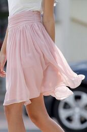 skirt,pink,sheer,flowy,clothes,pinterest,rose,summer,rose skirt,pink skirt,long,elegant,chiffon,fashion,lovely,love,chiffon skirt,vintage,flowy skirt,pretty,skater skirt,knee length skirt,elegant skirt,dirty dancing,baby