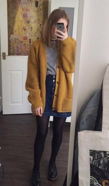 Cardigan Mustard Art Mustard Sweater Denim Skirt Art Hoe