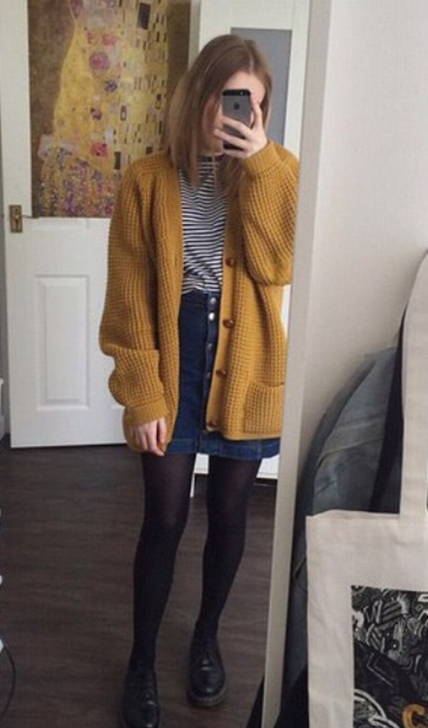 Cardigan: mustard, art, mustard sweater, denim skirt, art hoe ...
