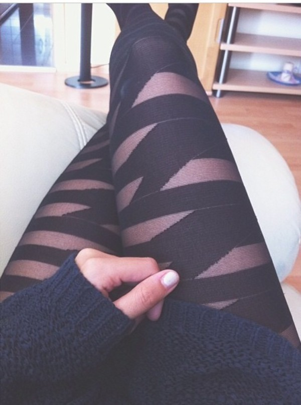 leggings black stripes tights sheer