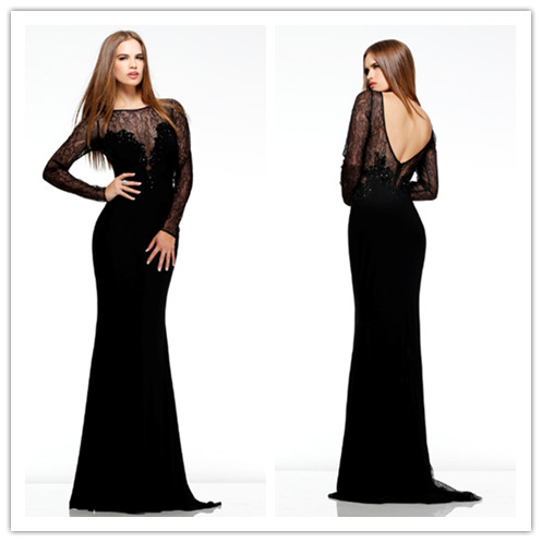 Dress Black Sherri Hill Prom Dress Black Dress Long Sleeves