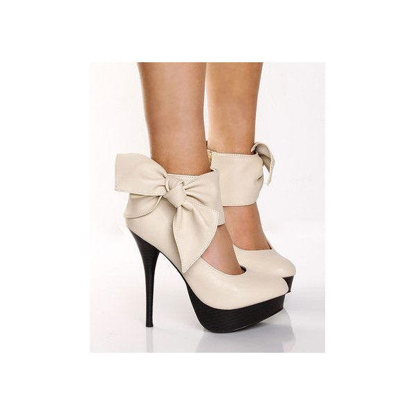 Privileged Moss Stone Side Bow Platform Heel Bootie - $35.00 - Polyvore