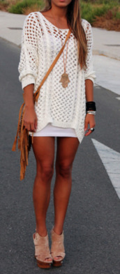 dress,crochet,knit,sweater,oversized,white,tunic,crochet tunic,comfy,long sleeves,slip,oversized sweater,jewels,shoes,bag,brown bag,pinterest,blouse,dress shirt,oversized cardigan,boho,boho dress,bohemian,bohemian dress,knitted sweater,knitted dress,holy,swimwear,cardigan,white oversized knit sweater r,top,white knitted shirt