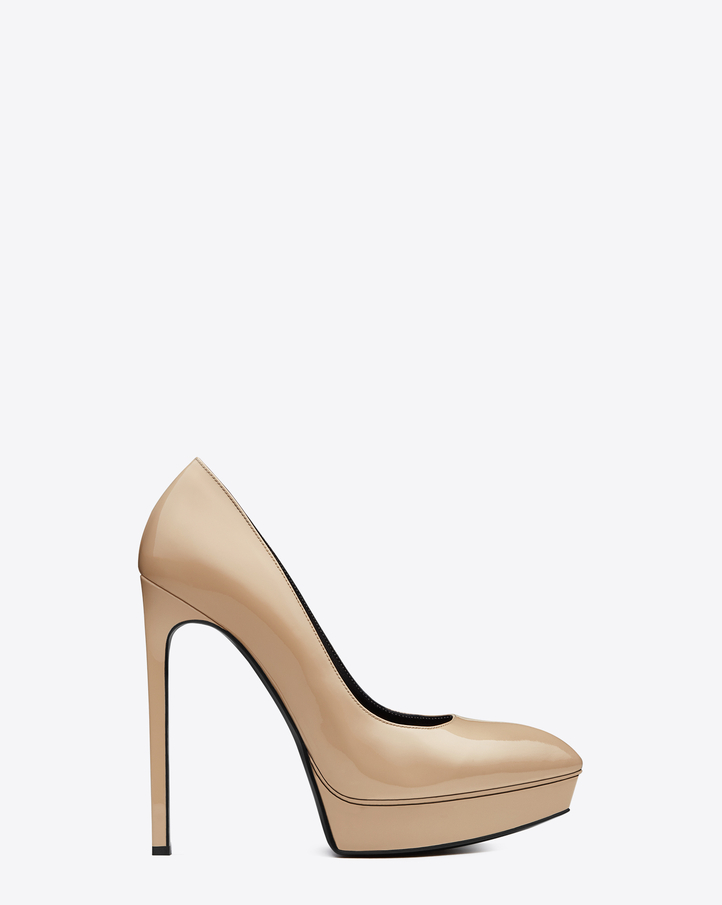 Saint Laurent CLASSIC JANIS 105 ESCARPIN PUMP IN POWDER PATENT LEATHER | ysl.com