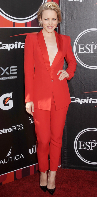 pants red pants blazer rachel mc adams suit