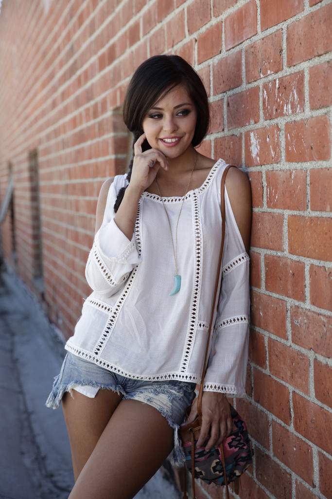 Cold Shoulder Lace Boho Top